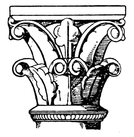 Romanesque Capital, an architectural style of medieval Europe,  semi-circular arches,  traditionally referred to as Norman architecture, vintage line drawing or engraving illustration.