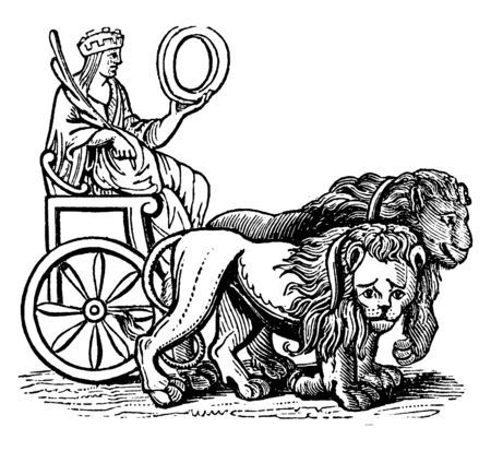 This is the picture of Roman goddess of nature and fertility. She is sitting on her throne who has two lions, vintage line drawing or engraving illustration.