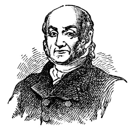 John Quincy Adams, 1767-1848, he was the sixth president of the United States from 1825 to 1829, vintage line drawing or engraving illustration 일러스트