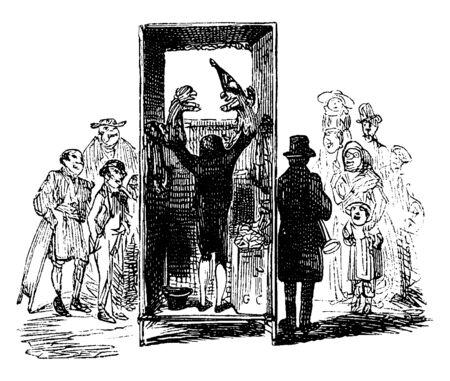 Lo spettacolo di marionette ha un burattinaio che mette su uno spettacolo, un disegno di linee vintage o un'illustrazione di incisione.
