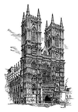 Westminster Abbey or Collegiate Church, founder is Edward, vintage line drawing or engraving illustration.