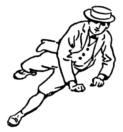Boy is leaping while supporting himself with both the hands, vintage line drawing or engraving illustration.