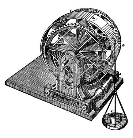 This illustration represents function of Dynamometer, vintage line drawing or engraving illustration.