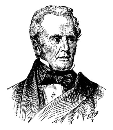 Benjamin Silliman, 1779-1864, he was an American chemist and science educator, vintage line drawing or engraving illustration
