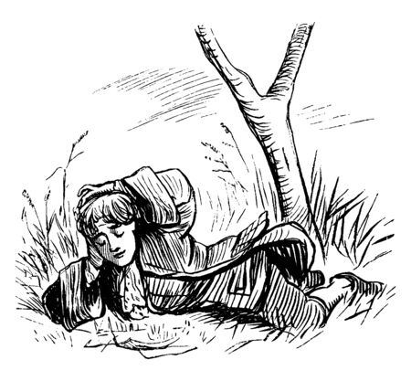 Boy Reading underneath a tree, resting, tree, development, black, vintage line drawing or engraving illustration.