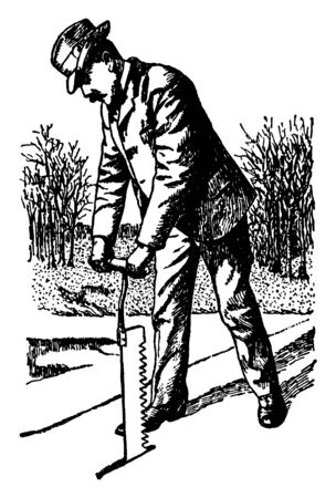 This illustration represents Ice Saw which is used to open a hole in the ice covering a lake, vintage line drawing or engraving illustration.