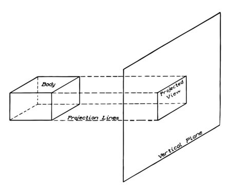 Projected Geometric View by connecting the points on the plane, it is axonometric or auxiliary views in addition and points on some geometric plane, vintage line drawing or engraving illustration. 向量圖像