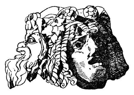 Mask Decoration was founded in Pompeii, vintage line drawing or engraving illustration.