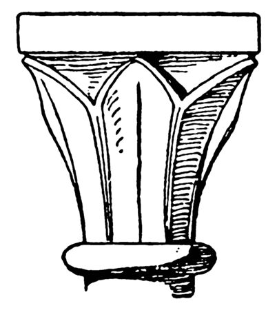 Romanesque Capital, from Freiburg, example of Italian Southern, vintage line drawing or engraving illustration. Stock Illustratie