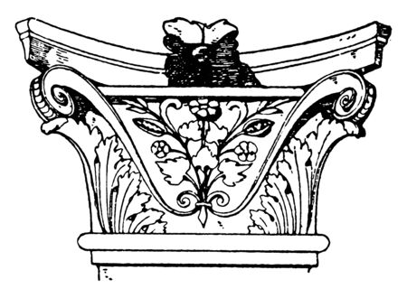 Corinthian Pilaster Capital,  pilaster is broader in proportion to its height, encircled with artificial leaves,  an Italian Renaissance design, vintage line drawing or engraving illustration.