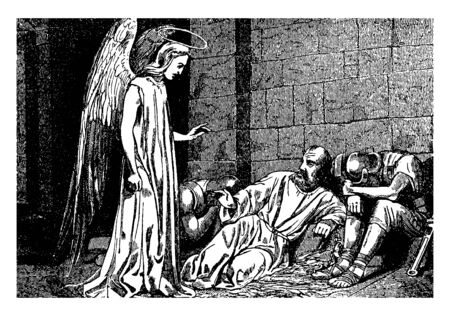 Peter is locked up in prison and the angel of the Lord came from heaven, and the light is spreading. Peters chains are opened automatically and two soldiers are sleeping there, vintage line drawing or engraving illustration. Ilustração
