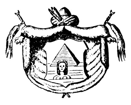 Egyptian Coat of Arms is a pyramid and Sphinx coat of arms, vintage line drawing or engraving illustration. Ilustracja