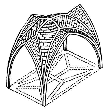 English Style Ribbed Vault with divided in groin-rib, greater part of the evolution, constructive side of the style, vintage line drawing or engraving illustration.