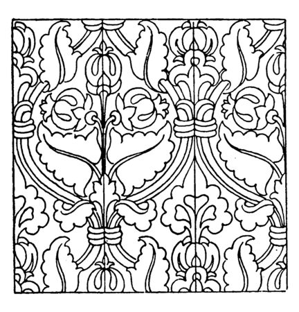 Carpet Pattern is a German Renaissance design, Carpet tiles are a hard-wearing and affordable way to introduce carpet into your home, vintage line drawing or engraving illustration.  イラスト・ベクター素材