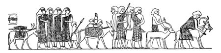 Asiatics Visiting Egypt have some people with animals, vintage line drawing or engraving illustration. 向量圖像
