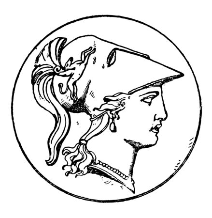 A picture of Right Minerva head which is the modern version design of the Greek Goddess Athena. This design frequently occurred on medallions, vintage line drawing or engraving illustration.