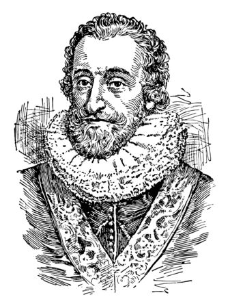 Henry IV, 1553-1610, he was the king of France from 1589 to 1610 and the first French monarch of the House of Bourbon, vintage line drawing or engraving illustration Illusztráció