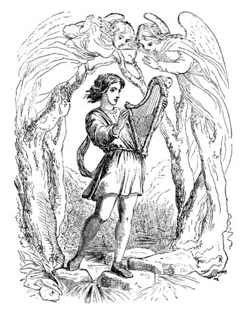 A young boy are wearing a short tunic and holding a small harp. Where are two angels, vintage line drawing or engraving illustration.