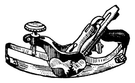 This illustration represents Circular Plane which is used to smooth or reduce wood to a true plane, vintage line drawing or engraving illustration.