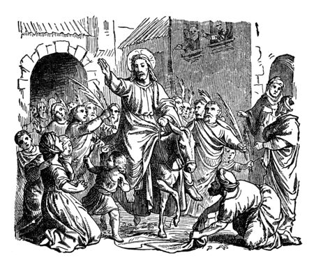 Jesus came on a colt in crowd and he raised his right hand towards people who followed him, vintage line drawing or engraving illustration.