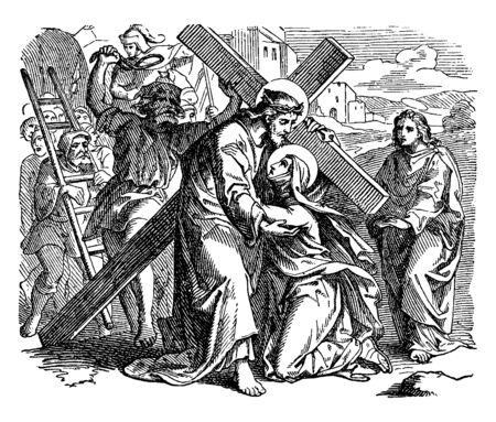 Jesus is carrying the cross and on the way to Calvary and a person bows down on his knees before him and crying, Jesus trying to erect him, vintage line drawing or engraving illustration.