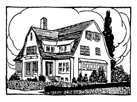 The image shows the three story building, which has many vines on the walls.  The building has wooden picket fencing. One can see that the Dog is playing in the curtilage, vintage line drawing or engraving illustration. Illustration