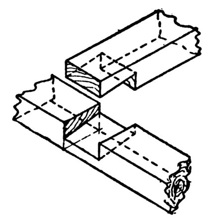 This illustration represents Beveled Halving joint which is a woodworking joint in which the two members are joined by removing, vintage line drawing or engraving illustration. Ilustração