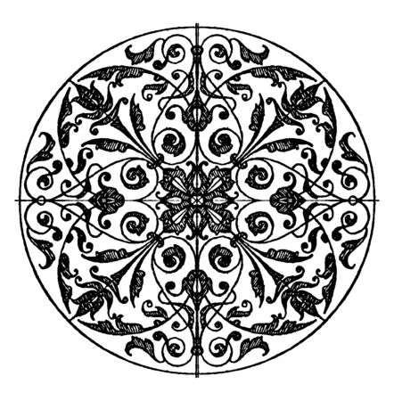 Modern Circular Panel is a silver plaque design, its found in Berlin, vintage line drawing or engraving illustration.