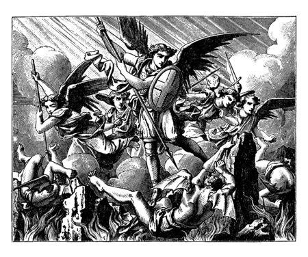 Lucifero è caduto dal cielo. Michael e altri angeli stanno combattendo contro gli angeli vinti, disegno dell'annata o illustrazione incisione. Vettoriali