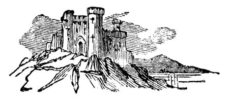 This image illustrates the castle.  The castle is constructed up there on hill. This House has Chimney at the pinnacle, vintage line drawing or engraving illustration.
