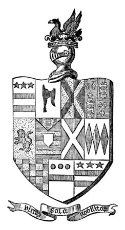 Combined Arms of the Washington Family in County Durham, vintage line drawing or engraving illustration. Stok Fotoğraf - 133018298