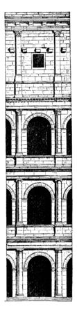 Architecture of the Colosseum, The construction of arches,  not remain confined to the interior of buildings, own expression to the architecture, vintage line drawing or engraving illustration.