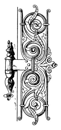 Renaissance Hinge is found in a town-hall, maintains cellar temperatures, left or right door hinge, vintage line drawing or engraving illustration. Standard-Bild - 133018245