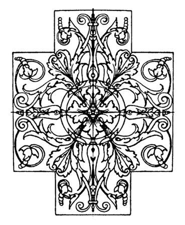 El diseño del panel se encuentra en el museo del Louvre en París, dibujo o grabado de línea vintage. Ilustración de vector