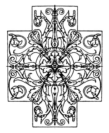 Panel design is found at the Louvre museum in Paris, vintage line drawing or engraving. Ilustração