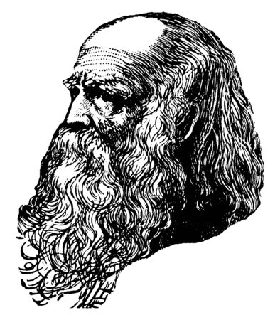 William Cullen Bryant, 1794-1878, he was first American poet, journalist, and editor of the New York evening post, author of Thanatopsis, vintage line drawing or engraving illustration Foto de archivo - 133404844