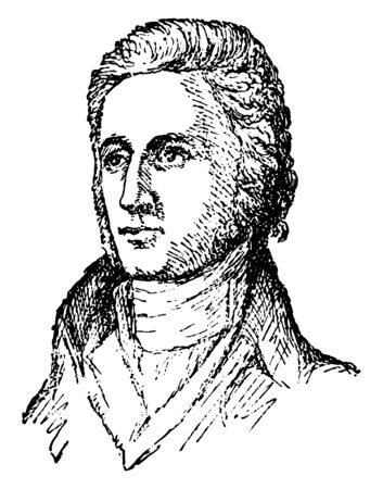 William R. Davie, 1756-1820, he was a military officer and tenth governor of North Carolina from 1798 to 1799, founder of the university of North Carolina, member of the federalist party, vintage line drawing or engraving illustration Illustration