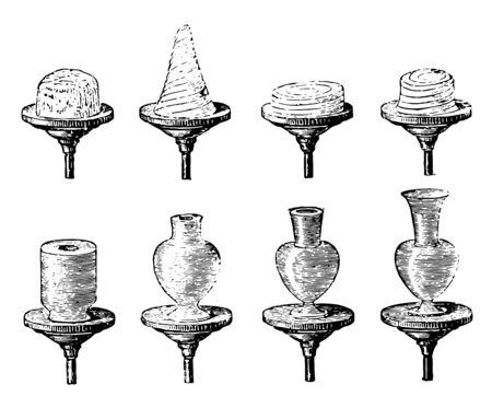 Etapas sucesivas de vasija de barro en la rueda del alfarero, su material cerámico en vasijas o alfarería utilizando barro, dibujo de línea vintage o ilustración de grabado.