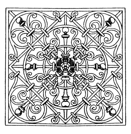 Wrought-Iron Square Panel design made by George Klain, vintage line drawing or engraving illustration.