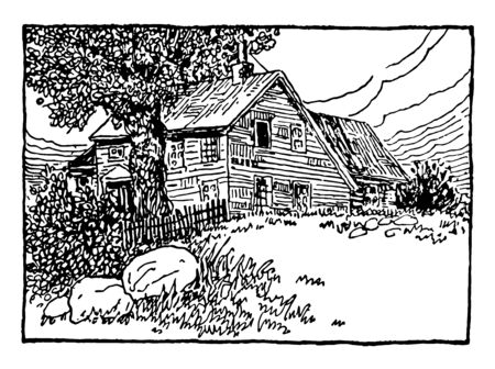 The picture depicts the delightful two stories Cottage, which is having the marvellous garden. The lodge has a white Picket fencing, vintage line drawing or engraving illustration. Illustration