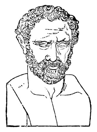 Bust of Demosthenes, 384-322 BC, he was a Greek statesman and orator of ancient Athens, vintage line drawing or engraving illustration