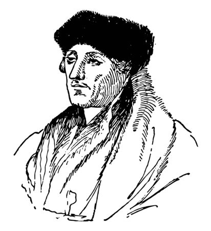 Desiderius Erasmus, 1466-1536, he was a Dutch renaissance humanist, catholic priest, social critic, teacher, and theologian, he was a classical scholar and wrote in a pure Latin style, vintage line drawing or engraving illustration Ilustração Vetorial