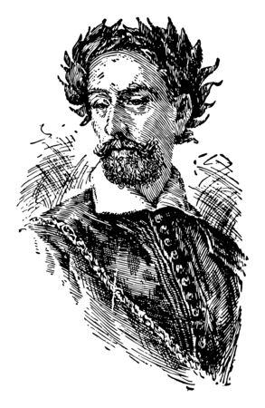 Torquato Tasso, 1544-1595, he was an Italian poet, famous for his poem Jerusalem Delivered, vintage line drawing or engraving illustration