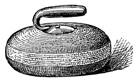 A stone used in the game of curling. It has a handle which causes the stone to turn in circular direction, vintage line drawing or engraving illustration.