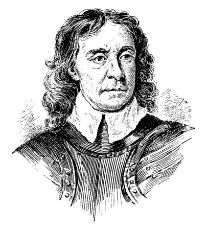 Cromwell, 1599-1658, he was an English general and political leader and Lord protector of the commonwealth of England, Scotland, and Ireland, vintage line drawing or engraving illustration