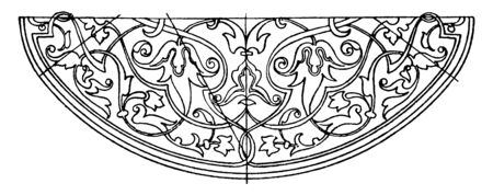 Book-Cover Elliptic Panel on the center of the cover, vintage line drawing or engraving illustration.