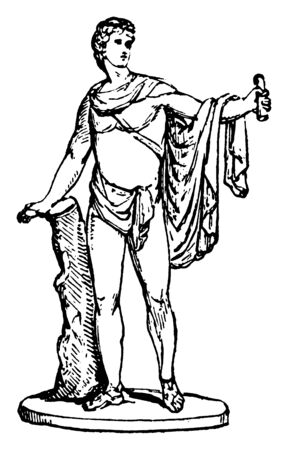 An ideal of Greek god of music and love, vintage line drawing or engraving illustration.