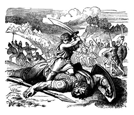 A picture of David trying to cut off the head of Goliath. In the background some Men's of Israel and Judah pursuing the Philistines, vintage line drawing or engraving illustration.