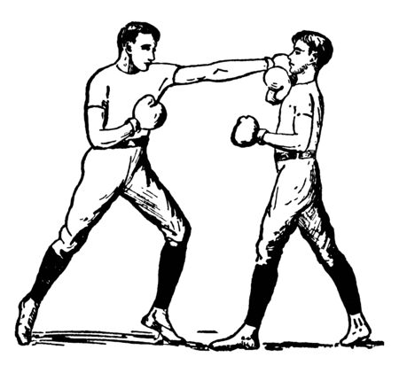 Attacking boxer is hitting on head of other boxer and other boxer defending himself, vintage line drawing or engraving illustration. Archivio Fotografico - 133108957