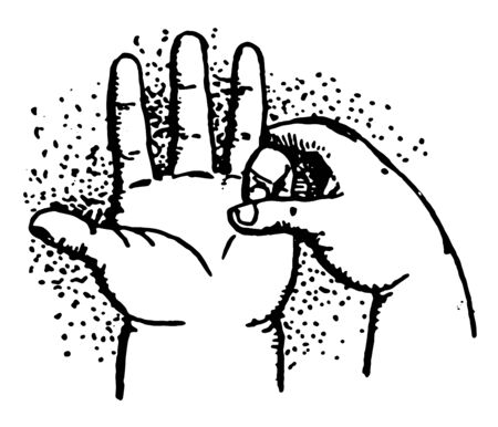 Five Minus has A child subtracting with his One fingers, vintage line drawing or engraving illustration. Illustration